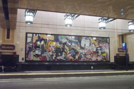 Bus tunnel: mural at Westlake stop