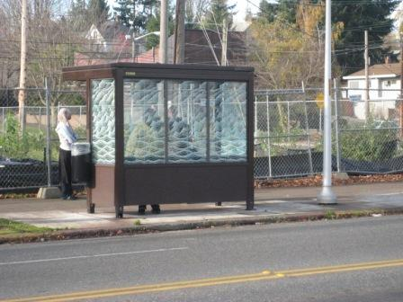 A bus shelter at 23rd & Union
