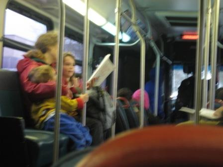Bus mom reading stories