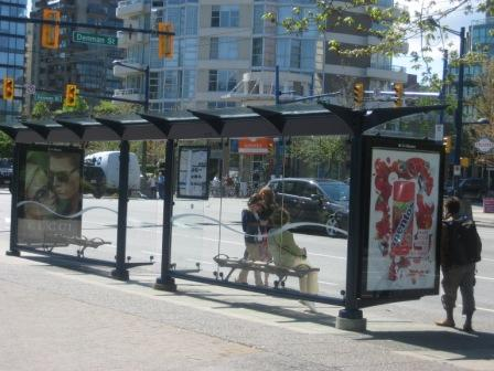 Vancouver bus shelter with advertising