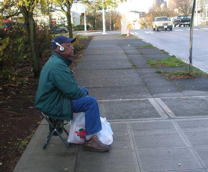 Improvised bus stop bench