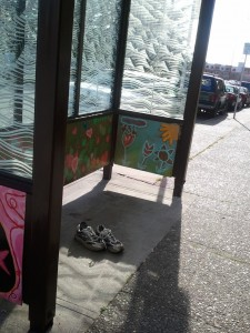 Running shoes at Yesler and Broadway(ish)