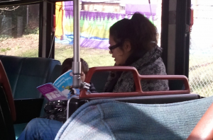 Bus mom reading