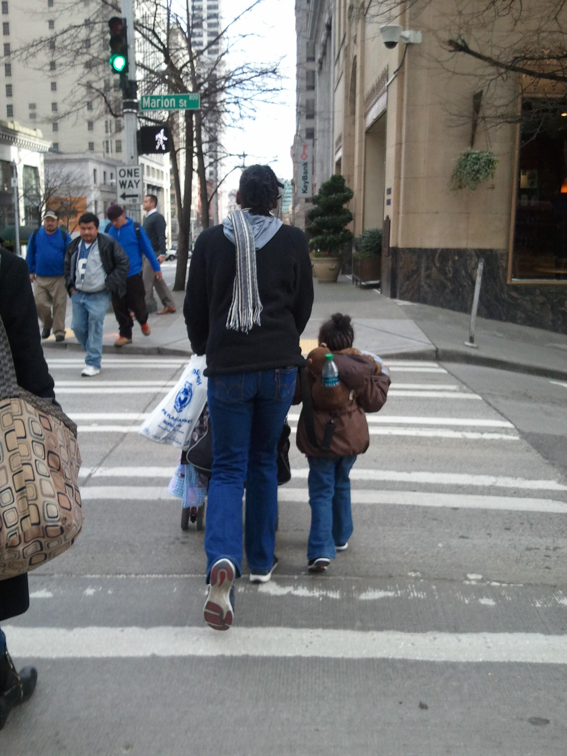 Bus mom walking