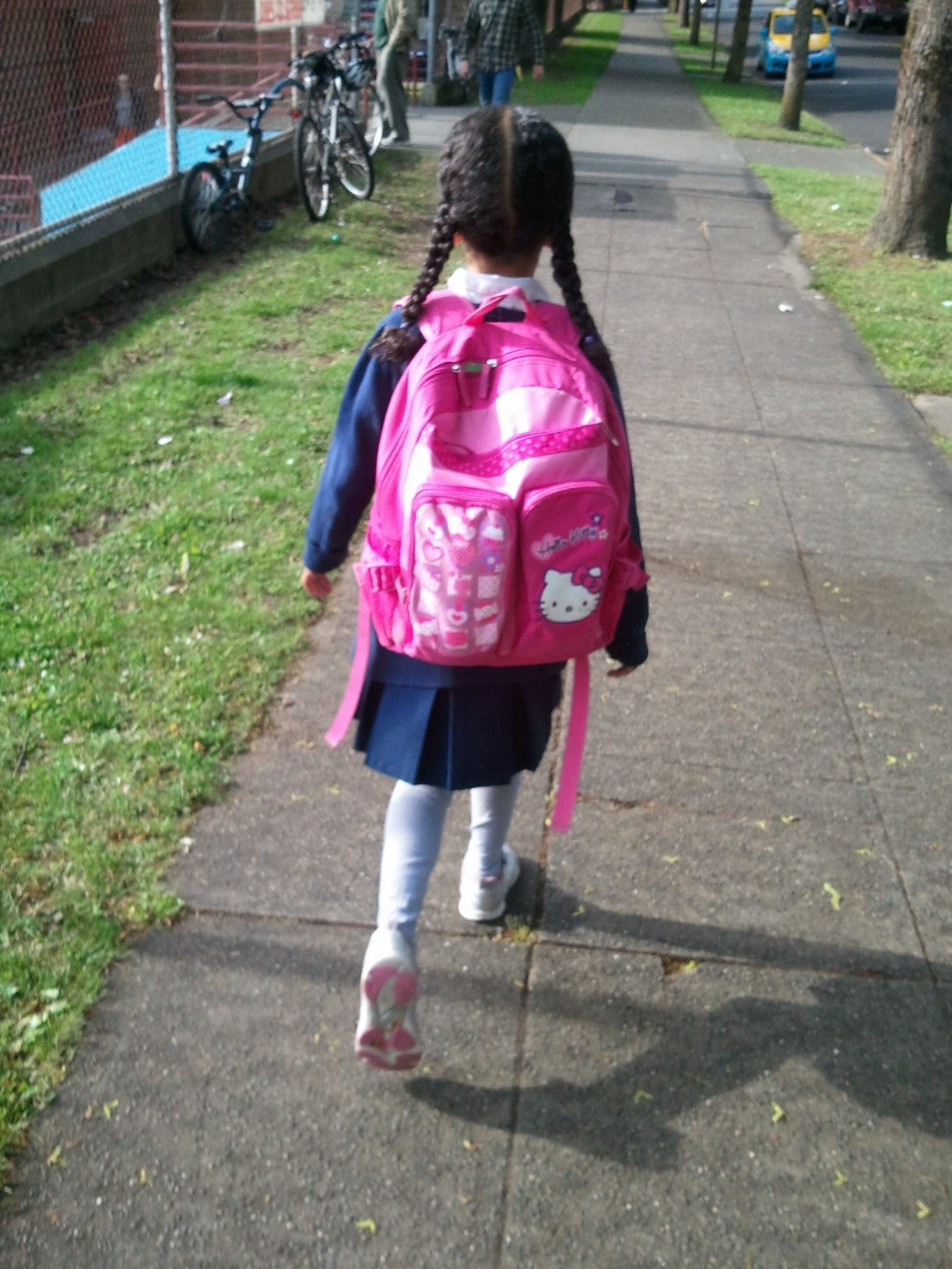 Chicklet walking to school