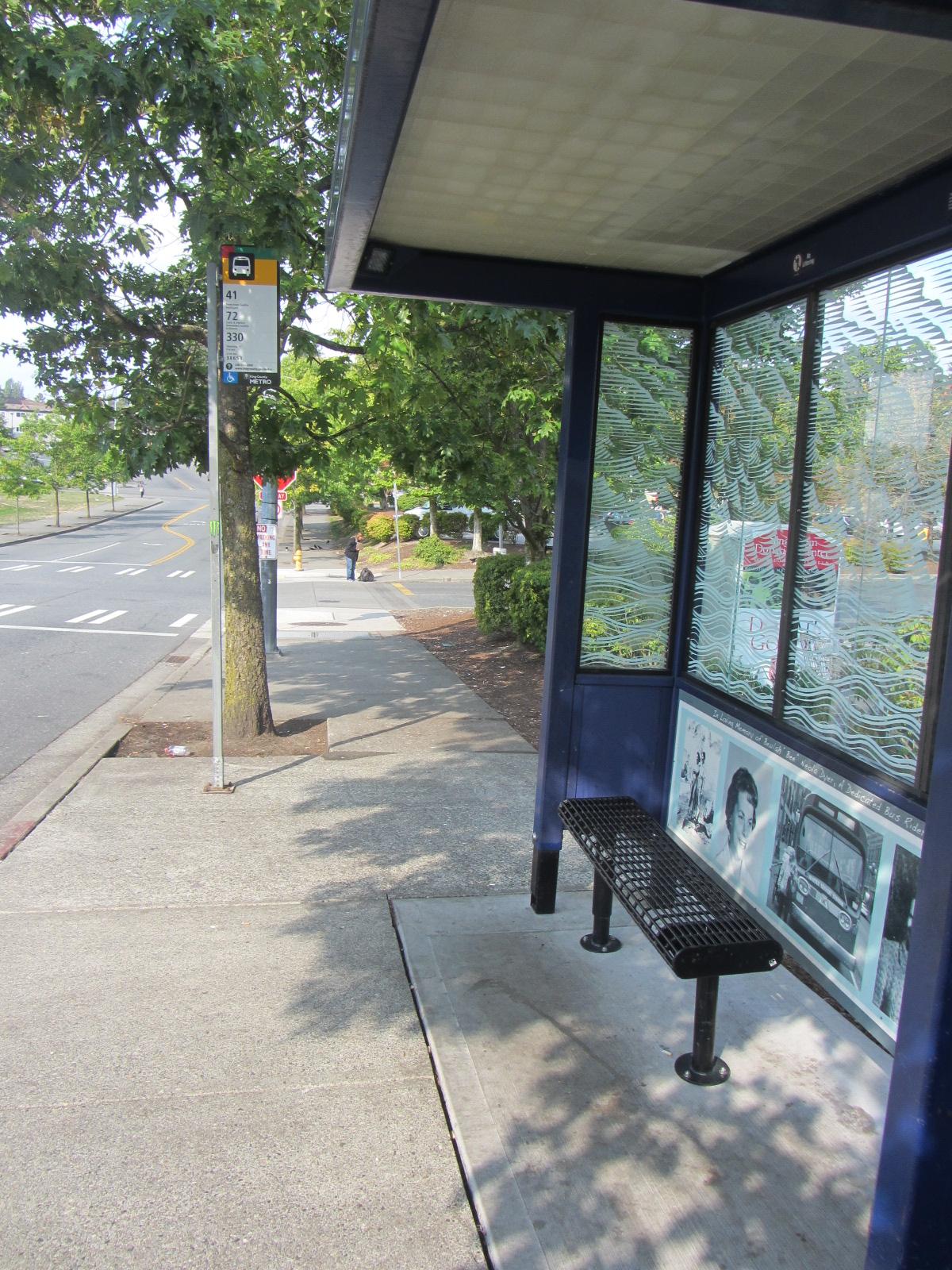 Bus stop memorial - side view
