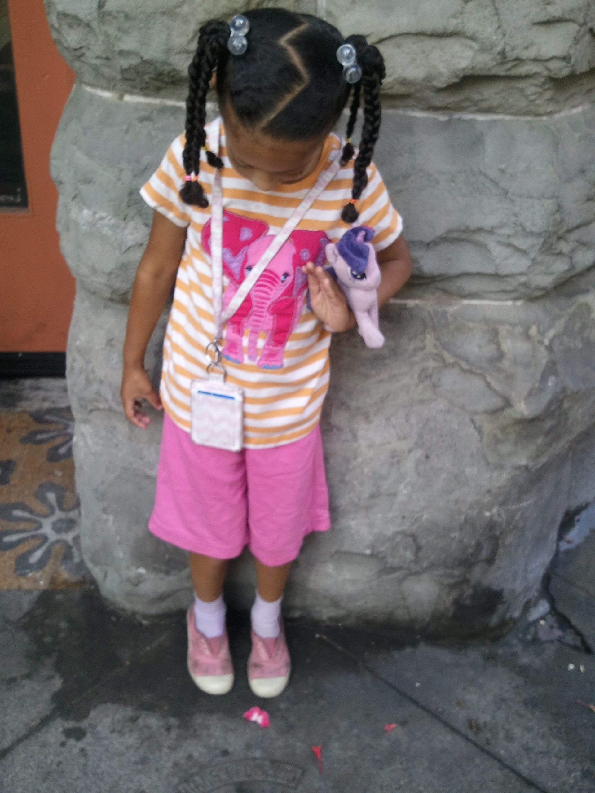 Chicklet with her lanyard