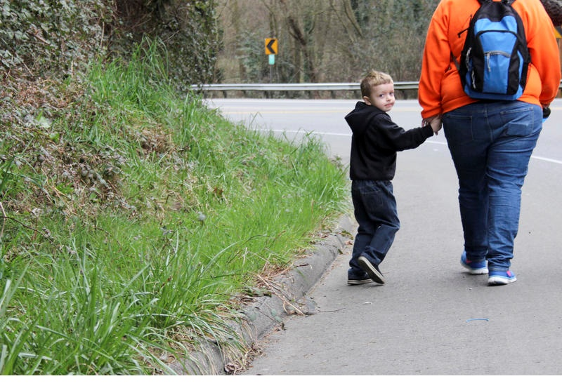 Mother and son walking to preschool in Kent, WA (Photo credit: KUOW)