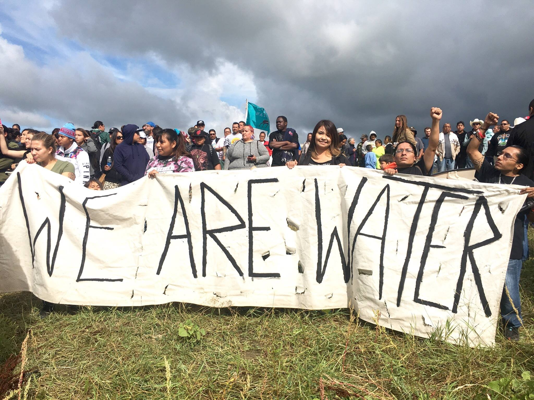 Water protectors at the Sacred Stone camp resisting the Dakota Access oil pipeline (source: Indianz.com)